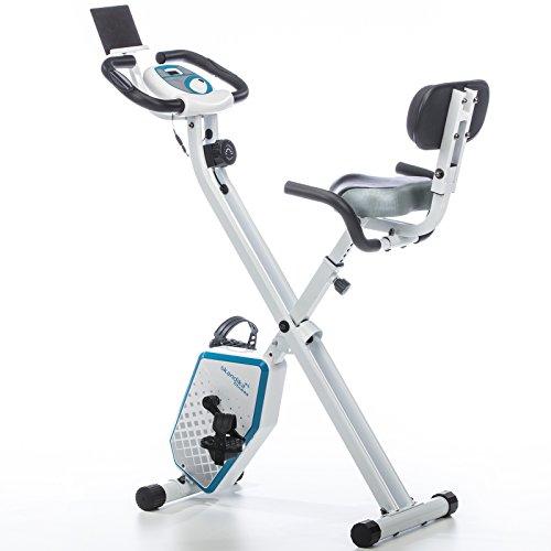 skandika Foldaway X-1000 Plus Fitnessbike Heimtrainer X-Bike F-Bike mit Handpuls-Sensoren, Bluetooth Computer, Tablet-Halterung, Rückenlehne (weiß/blau)