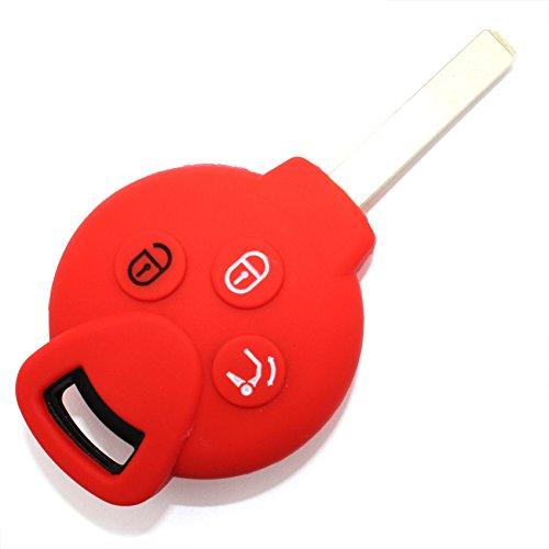 Schlüssel Hülle SC für 3 Tasten Auto Schlüssel Silikon Cover von Finest-Folia (Rot)