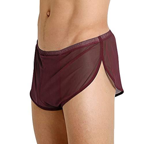 Herren Mesh Shorts mit großen Split Sides Unterwäsche Boxershorts Fishnet Sheer Badehose Color Coffee Size 2XL