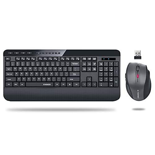Wireless Keyboard and Mouse Combo, E-YOOSO 2.4G Full-Sized Ergonomic Keyboard Mouse Combo with Wrist Rest, 3 DPI Adjustable Wireless Optical Mice with USB Nano Receiver, for Laptop Windows Mac OS PC