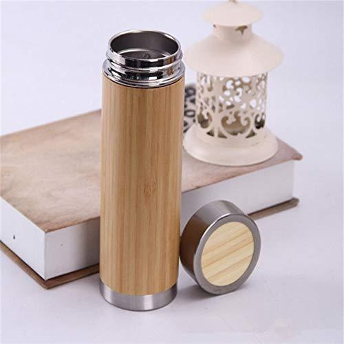 WXX Botella Creativo de bambú Termo de Acero Inoxidable Frasco de vacío, la vesícula biliar Interno: Acero Inoxidable (280 ml) (Color : 360ml)
