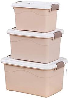 PPCP Storage Box Plastic Three-Piece Storage Box Book Storage Box (Color : Brown)