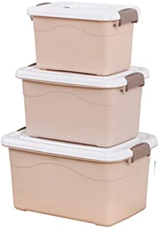 PPCP Storage Box Plastic Three-Piece Storage Box Book Storage Box (Color : Brown)