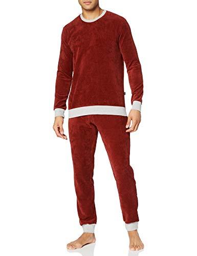 Schiesser Herren Sleep + Lounge Schlafanzug lang Pyjamaset, Bordeaux, 48
