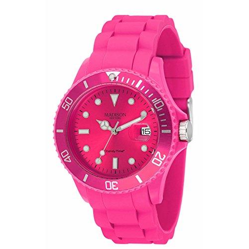 Madison New York Unisex-Armbanduhr Candy Time Analog Silikon rosa U4167-05/2