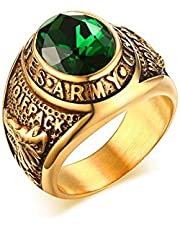 IP Gold Plating High Polish Stainless Steel with Rhinestones Men's Ring 9 US Size