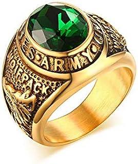 خاتم من الستانلس ستيل المصقول مطلي بالذهب بشكل ايوني مع حجر الراين - قياس 9 US
