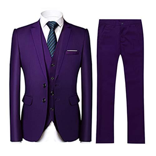 YOUTHUP Anzug Herren 3 Teilig 2 Tasten Slim Fit Elegant Anzüge Einreiher Sakko Weste Hose für Business Hochzeit