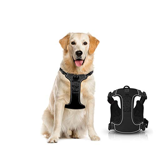 67i No Pull Dog Harness Reflective Adjustable Pet Vest Harness with 2 Leash Attachments and Soft Padded Dog Vest Easy Control Handle for Walking Small Medium Large Dog (Large Black)