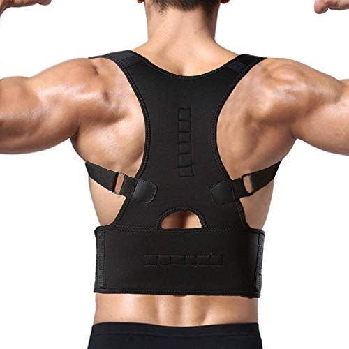 BRITSPEAR Universal Size Posture Corrector Shoulder Back Bone Braces Medical Support Abdominal Belt for Men and Women (Posture Belt_Black)