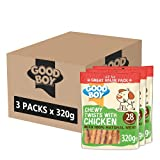 Good Boy - Chewy Twists With Chicken - Dog Treats - Made With 100% Natural Chicken Breast Meat - 320 Grams - Gluten Free Dog Treats (Case of 3)