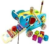 RB&G Elefant Holzspielzeug Xylophon Hammerspiel Nachziehspielzeug Montessori
