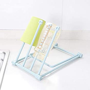 HSada Freestanding Towel Rack Holder - 4-Bar Countertop Dishcloth Drying Rack - Kitchen Towel Tree Hand Towel and Accessories Stand Easy to Carry and Foldable Storage - Space Saving  Blue