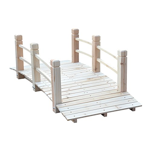 Outsunny 5ft Wooden Garden Bridge Arc Stained Finish Walkway with Railings, Natural Wood