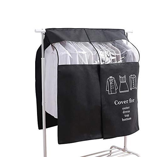 EXLECO Abdeckung Kleiderständer 90 × 110cm Anti-Staub Abdeckung Staubschutz kleiderschutzhüllen schutzhülle Staubdicht Feuchtigkeit Schwarz Lang mit Magic Tape