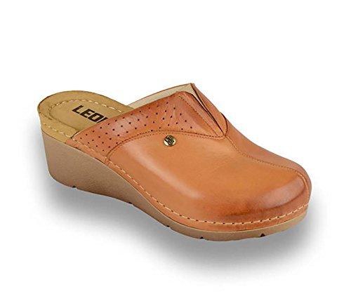 LEON 1002 Zuecos Zapatos Zapatillas de Cuero para Mujer, Marrón, EU 40