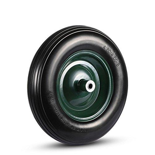 MAXCRAFT Schubkarrenrad mit Achse aus Vollgummi PU 4.80/4.00-8 Ersatzrad Reifen 200 kg - Schwarz/Grün