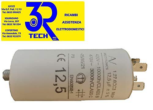 Condensatore con doppio Faston e codolo filettato M8 - Capacità 12,5 µF