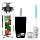 Instalite Fruit Infuser Water Bottle 1 Litre with BPA Free Tritan Material, Free Weight-Loss & Detox Recipe eBook Sleeve & Cleaning Brush (Black)