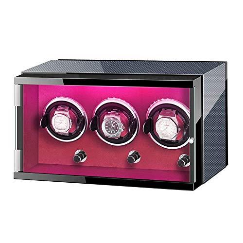 Caja enrolladora de Reloj para 3 Relojes automáticos con Luces de Colores Fuente de alimentación Dual Almohadillas Ajustables para Reloj Motor silencioso Clásico Harmonious Home