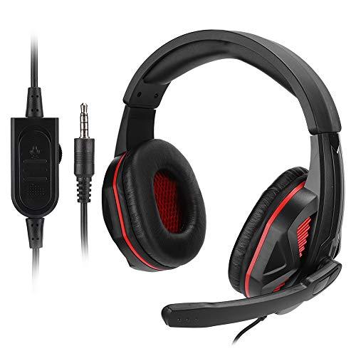 Kafuty-1 SEZ-881 Auriculares con Cable para Juegos - Auriculares caseros con Audio para el hogar Auriculares estéreo de 3,5 mm con cancelación de Ruido y micrófono, para Xboxone, para PS4(Rojo)