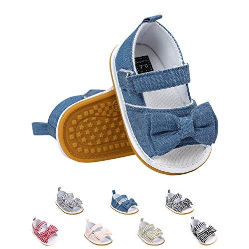 Sandalias de Bebé Niña con Bowknot, Zapatos de Verano para Infantil Pequeños con Suela Blanda (19 EU, Azul)