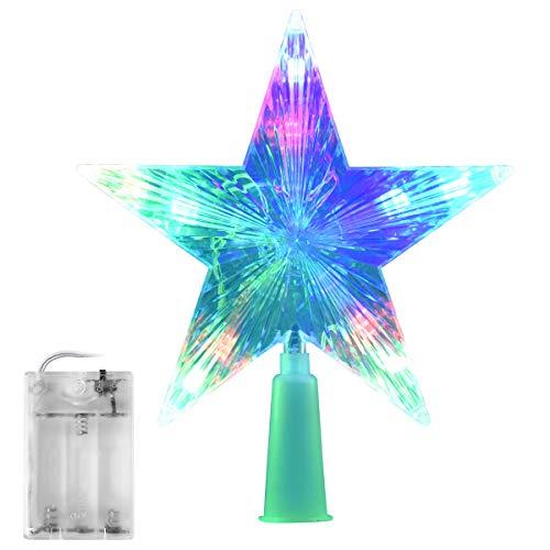 AsperX Árbol de Navidad Top Estrella Multicolor Flash Star Lámpara de Luz Decorativa Operada Tree Topper para Navidad