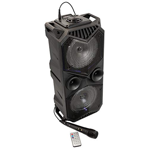 Bluetooth Lautsprecher mit Mikrofon - Mobile DJ/PA Anlage mit Karaoke Funktion - Integrierter 4000 mAh Akku und Lichteffekte Speaker mit Radio, AUX und USB/SD Slots mit Aufnahmefunktion 60W schwarz