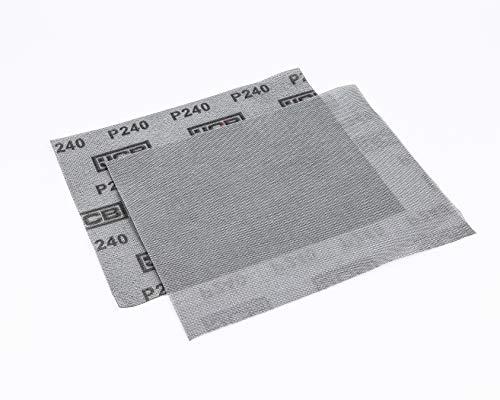JCB | Hoja de lija de malla de grano 240 | Soporte de gancho y bucle | 280 x 230 mm | Paquete de 2