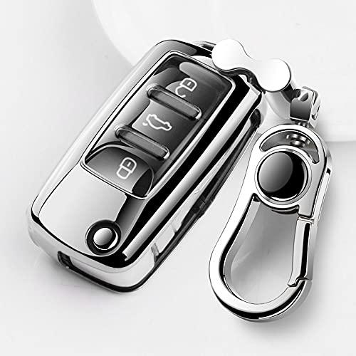 ZYHYCH Soft TPU Car Key Funda Completa Funda Protectora Shell, Apto para Volkswagen VW Golf Passat Tiguan Polo Scirocco Skoda Octavia Seat, Astilla