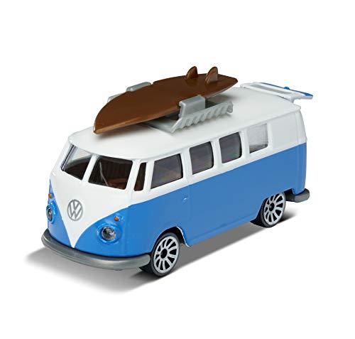 Majorette VW T1 Bus, Bully, Spielzeugauto, Freilauf, zu öffnende Teile, Sammelkarte, 7,5 cm, blau/weiß, für Kinder ab 3 Jahren