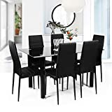 Geniqua 7 Piece Modern Dining Room Table Set Rectangular Black Tempered Glass Top Table 6 Dining Chairs Home Kitchen Furniture Desk Black Legs