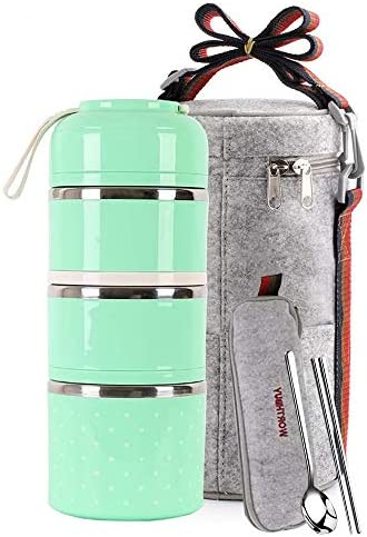 Lunch Box Stainless Steel Food Containers 3 Stackable Square Bento Box with Insulated Lunch product image