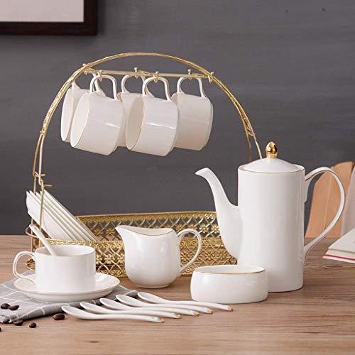 - Juegos de té de cerámica Europeos de 15 Piezas Juego de café de China con Soporte de Metal con Jarra de Crema para...
