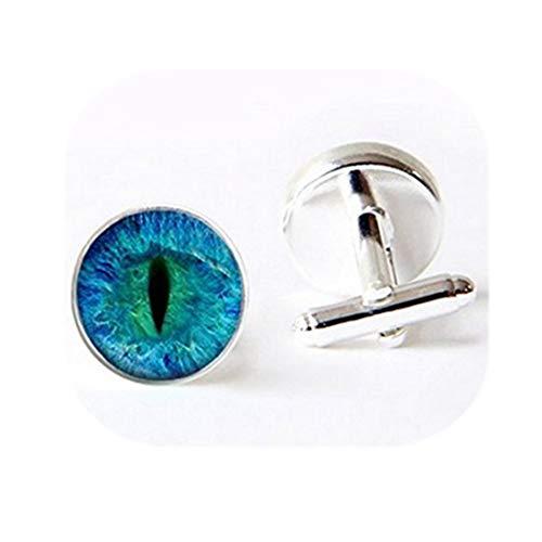 Cat Eye boutons de manchette –. Bleu et Noir. Fait main bijoux. Boutons de Manchette de haute qualité