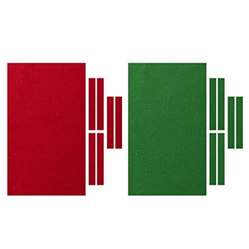 TOPWA Professionelle Billardtischdecke 9 Fuß Billardtisch Filz 6 Filzstreifen Zubehör Billard Snooker Tuch Filz (rot)