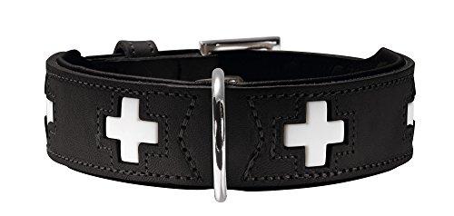 HUNTER SWISS Hundehalsband, Leder, hochwertig, schweizer Kreuz, 37 (XS-S), schwarz