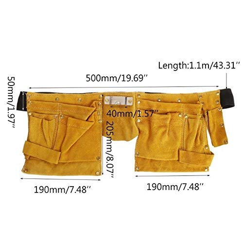 LNNZPL Elektriker Taille Werkzeuggürteltasche Tasche Schraubendreher-Set-Reparatur-Werkzeug-Halter-Leder-Toolkit Verschleißfestes wasserdichtes Kit (Color : Yellow+Black)