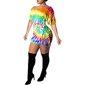 Remelon Womens Casual Short Puff Sleeve Digital Graffiti Print Loose Tunic T-Shirt Mini Dress
