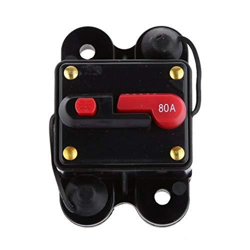Schutzschalter 30-300A,Leitungsschutzschalter Car Audio 50 AMP12-24V DC Leistungsschalter für Auto Marine Boat Bike Stereo Audio Reset-Sicherung (80A)