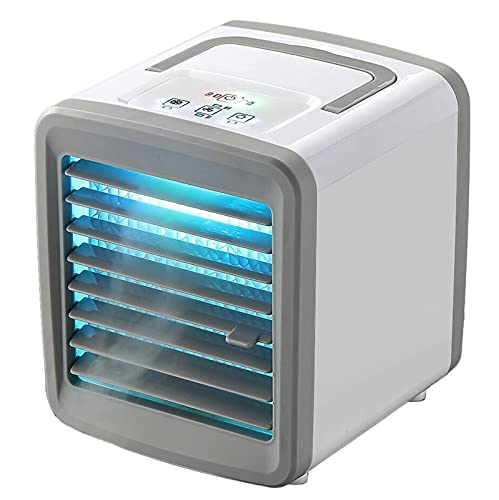 ZHOUJ Aire acondicionado portátil, enfriador de aire portátil con luz LED (batería incorporada de 2400 mah), ventilador evaporativo para habitación pequeña/oficina/dormitorio