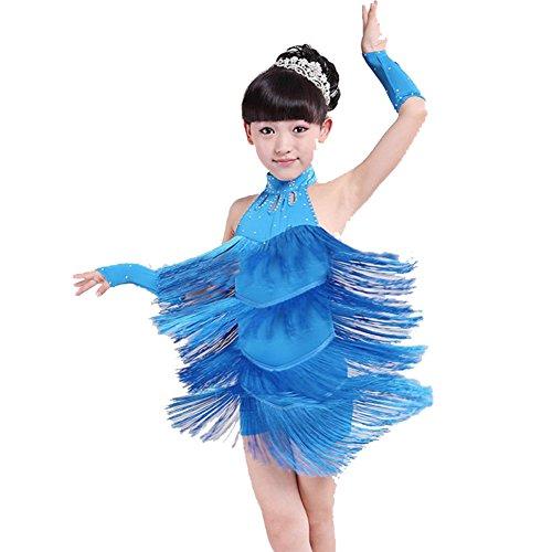 Hougood Mädchen Latin Kleid Tanzkleid Quaste Diamond Dance Kostüm Tango Rumba Samba Tanzen Kleidung