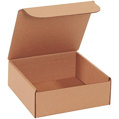 Aviditi Brown Kraft Literature Mailing Boxes, 8 x 8 x 3 Inches, Pack of 50, Crush-Proof, for Shipping, Mailing and Storing