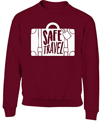 Hippowarehouse Safe Travel Kids Children's Unisex Jumper Sweatshirt Pullover Maroon