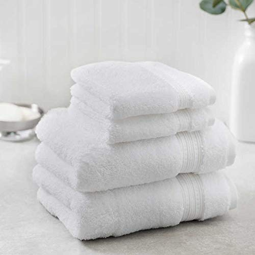 Charisma New Soft and Luxurious 4 Piece Towel Set | 2 Hand Towels and 2 Wash Cloths (White)
