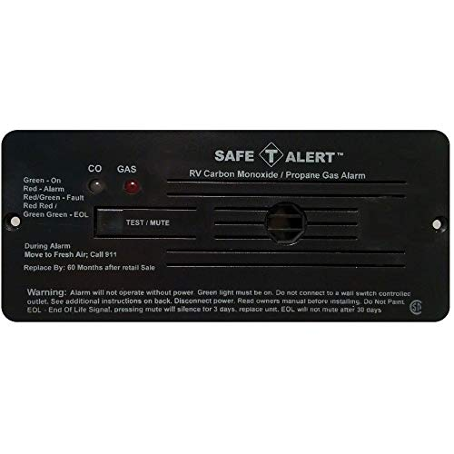 Safe-T-Alert by MTI Industries 35-742-BL Dual LP/CO Alarm - 12V, 35 Series Flush Mount, Black