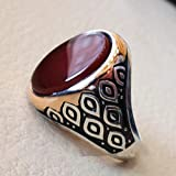 Men ring sterling silver 925 high quality natural carnelian oval red orange stone jewelry any size antique arab style two tone ring, mens huge ring, mens signet ring