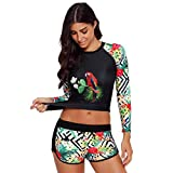 WoCoo Surfing Wetsuit Sun-proof Clothing Long Sleeve UV Sun Protection UPF 50+ Rash Guard Top 2 Piece Swimsuit for women(Green,XXX-Large)