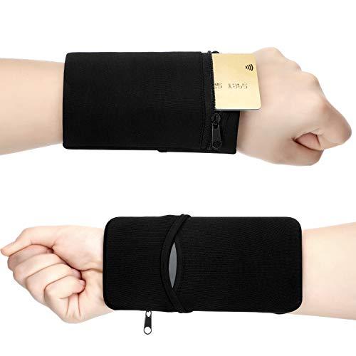 2 Stücke Tasche Armband Brieftaschen Schwarz Sport Handgelenk Brieftaschen Reißverschluss Armband Brieftaschen Handy Handgelenk Taschen für Outdoor Laufen Radfahren und Andere Sportarten