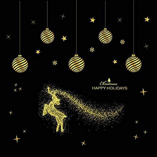 Alwayswin Abnehmbare Aufkleber Frohe Weihnachten Wandaufkleber Haushalt Wanddekor Aufkleber PVC Leimlose Elektrostatische Aufkleber Weihnachtsverzierung